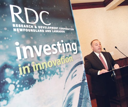 Terry French, minister responsible for the Research & Development Corp. (RDC), announced funding for business-led research and development initiatives at Oceans Ltd. in St. John's Wednesday. — Photo by Rhonda Hayward/The Telegram