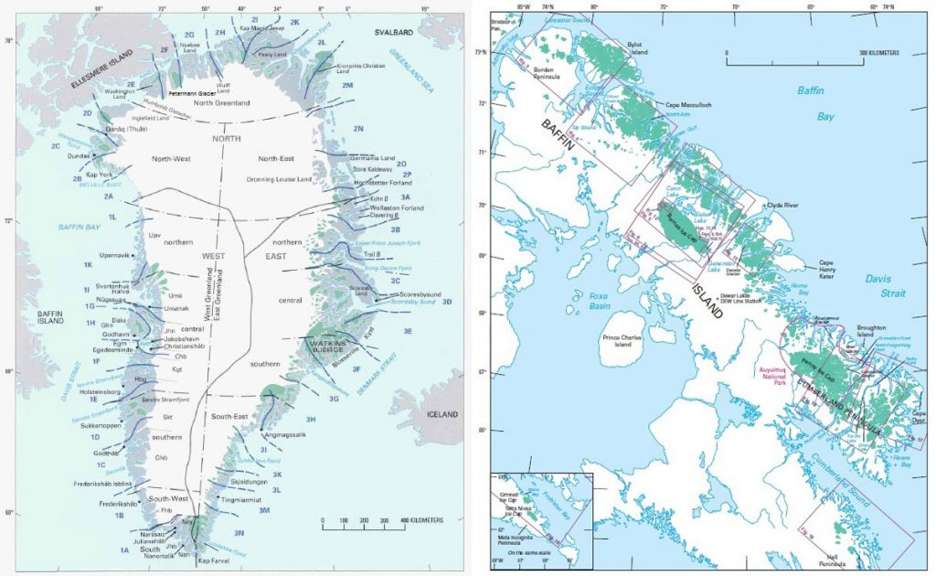 major glaciers Greenland (left) and of Baffin Island (right). Image Source: US Geological Survey